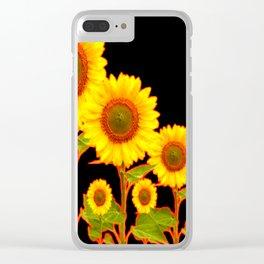 BLACK MODERN YELLOW SUNFLOWER FIELD Clear iPhone Case