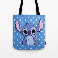 lilo and stitch Tote Bags featuring Lilo and Stitch - Stitch by Julia Kolos