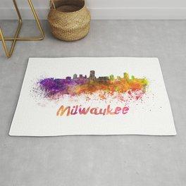 Milwaukee skyline in watercolor Rug