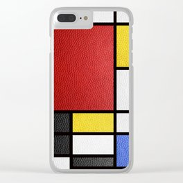 Mondrian in a Leather-Style Clear iPhone Case