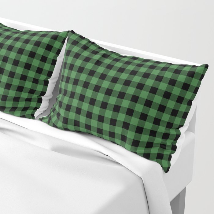 Classic Green Country Cottage Summer Buffalo Plaid Pillow Sham