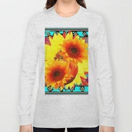 MODERN WESTERN TURQUOISE  YELLOW SUNFLOWER  ART Long Sleeve T-shirt