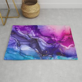 Abstract Vibrant Rainbow Ombre Rug