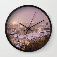 prague Wall Clocks featuring Prague 3 by Veronika