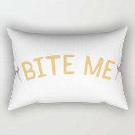 Shark Tooth Bite me Typography Rectangular Pillow
