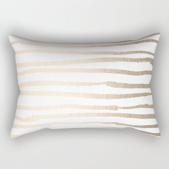 White Gold Sands Painted Lines Rectangular Pillow