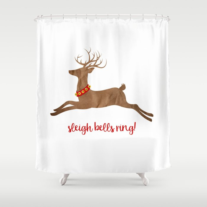 Sleigh Bells Ring Reindeer Shower Curtain