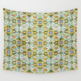 Seamless Floral Pattern Ornamental Tile Design : 9 yellow, green Wall Tapestry