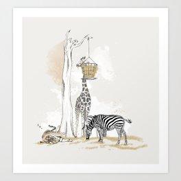 Zoo : Tigre, Zèbre, Girafe Art Print