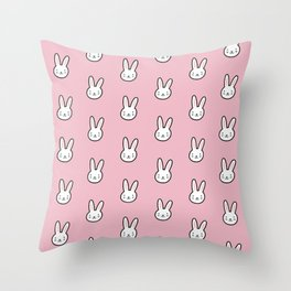 Cute Bunny Pattern (Pink) Throw Pillow