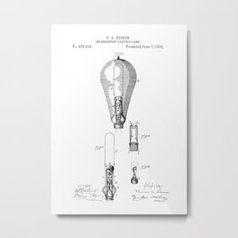 patent art Edison 1892 Incandescent electric lamp Metal Print
