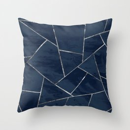 Midnight Navy Blue Ink Silver Geometric Glam #1 #geo #decor #art #society6 Throw Pillow