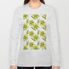 Spring hand painted yellow green watercolor daffodils floral Long Sleeve T-shirt