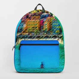 Menton, South of France Landscape Painting by Jeanpaul Ferro Backpack