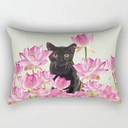 Lotus Flower Blossoms Black Cat Rectangular Pillow