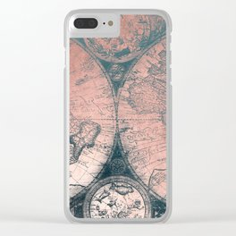Vintage World Map Rose Gold and Storm Gray Navy Clear iPhone Case