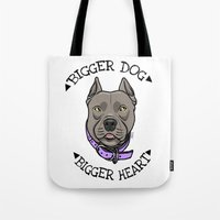 pitbull Tote Bags featuring Pitbull by pixxelr