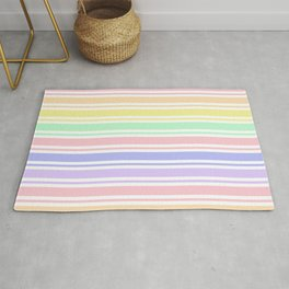 Pastel Rainbow Stripes Rug