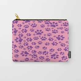 Purple Paws on Pink Carry-All Pouch