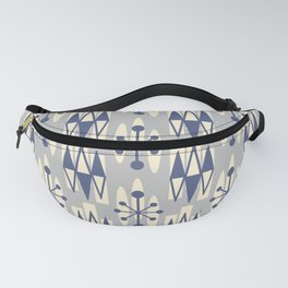 Retro Mid Century Modern Atomic Triangles 722 Blue and Gray Fanny Pack