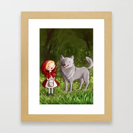 Red riding hood meets the wolf Framed Art Print