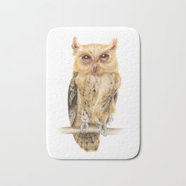 Animals | Owl Watercolour Print | Philippine Scops Owl | Painting Bath Mat