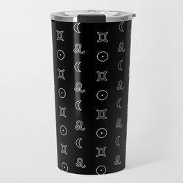 Gemini/Leo + Sun/Moon Zodiac Glyphs Travel Mug