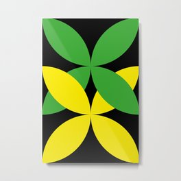 Green Yellow four-leaf clover in a strong deep dark black sky. They are hugging.They love each other Metal Print
