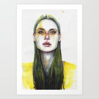 yellow Art Prints featuring yellow lemongrass by agnes-cecile