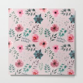 Grey and Pink Water Color Flowers and Leaves Pattern Metal Print