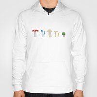 mushrooms Hoodies featuring Mushrooms by Becky Gibson