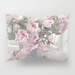 Pastel Roses In Vase - Shabby Chic Roses Pink Aqua Floral Print Home Decor Pillow Sham