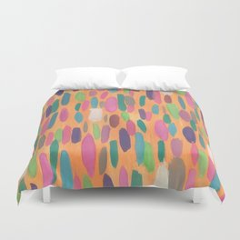 Colorful Dots on Orange Background Abstract Duvet Cover