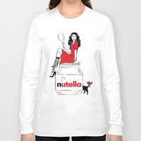 nutella Long Sleeve T-shirts featuring Nutella Girl by Martina