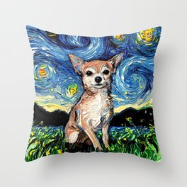 Chihuahua Night Throw Pillow