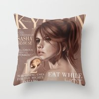 snk Throw Pillows featuring SnK Magazine: Sasha by emametlo