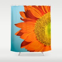 sunflowers Shower Curtains featuring sunflowers by mark ashkenazi