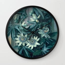 Blue Passion Flowers Temple of Flora Wall Clock