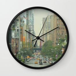New York City - Down The Avenue Wall Clock