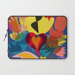 Flowers of Summer in the Blue Night Abstract Art Pattern Laptop Sleeve