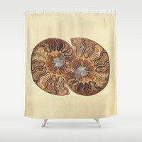 minerals Shower Curtains featuring HISTORY IN MY HAND by Catspaws