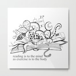 Reading adventures black and white drawing Metal Print