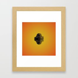 fractal black skull portrait with orange abstract background Framed Art Print