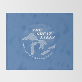The Great Lakes - Unsalted & Shark Free (Inverse) Throw Blanket