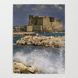 Napoli. Waves on the rocks. Poster