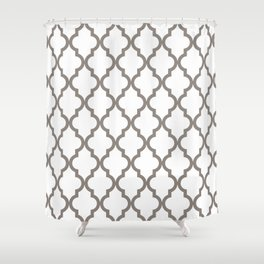 Moroccan Quatrefoil Pattern: Neutral Brown Shower Curtain