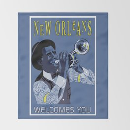 New Orleans welcomes you Throw Blanket