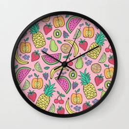 fruit on pink Wall Clock