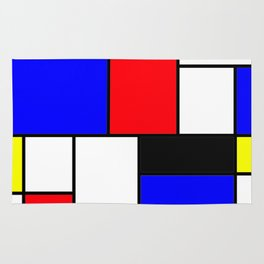 Red Blue Yellow Geometric Squares Rug
