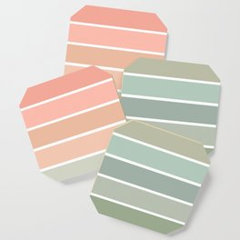70s Stripe - pastel pink and mint, spring, pink stripes, desert, boho, dorm decor Coaster
